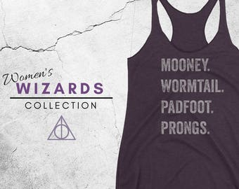 MESSRS Tank - Harry Potter Inspired Women's Racerback Tank, Hogwarts, Mooney, Wormtail, Padfoot, Prongs, Mischief Managed, Geek