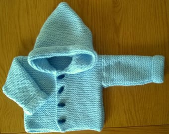 Hand Knitted Baby Boys  Hooded Jacket in Garter Stitch 0-3 months