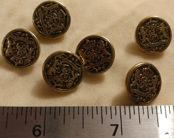"6 vintage metal buttons 1/2"""