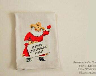Hostess Gift - Texas Christmas Tea Towel - Santa Cowboy Tea Towel - Linen Kitchen Retro - Women Christmas Gift - Southern Christmas Hostess
