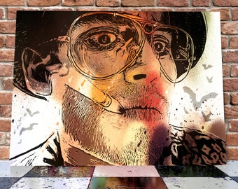 Johnny Depp Fear And Loathing In las Vegas Its Bat Country Spray Painting Onto Canvas - Hunter S. Thompson - Stunning Painted Canvas