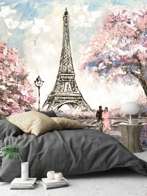Removable Wallpaper Mural Peel & Stick Oil Painting Street View of Paris by uniQstiQ