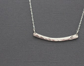 Silver Bar Necklace, Initial Bar, Monogram Necklace, Sterling Silver, Gold Bar Necklace, Gold Initial Bar, Gold Monogram, Delicate, N62