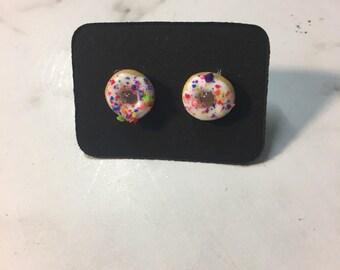 Rainbow sprinkle donut earrings
