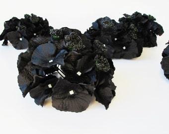 """10 Black Hydrangea Heads Artificial Silk Flowers Hydrangeas Measuring 6.1 """" Flower Faux Fake"""