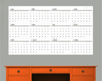 2018 CALENDAR - Jan to Dec - Large Dry Erase Wall Decals by GraphicsMesh