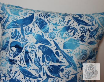 Blue Ocean Throw Pillow Cover // Throw Pillow Cover // Pillow Cover // Nautical Pillow Cover