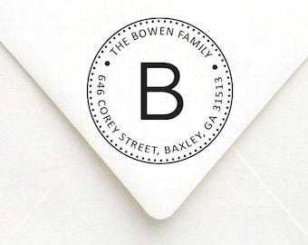 Personalized Monogram Address Stamp, Circle Address Stamp, Custom Rubber Stamp, Self Inking Round Rubber Stamp