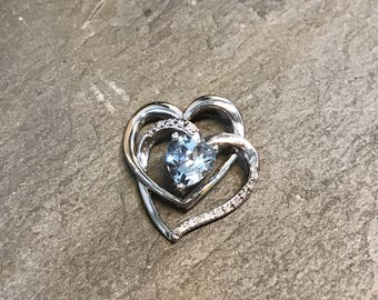 Vintage sterling silver pendant, 925 silver heart pendant with sapphire, stamped 925 SU