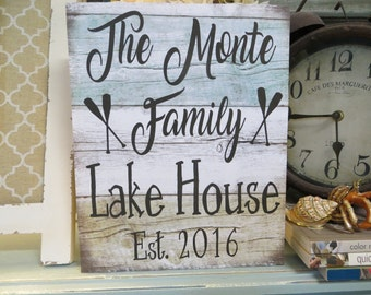 Wood Lake Sign, Lake House Decor, Personalized Lake House Sign, Custom Lake House Sign