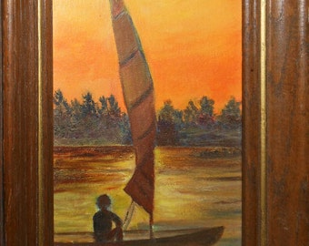 vintage oil painting person in sail boat with sunset signed