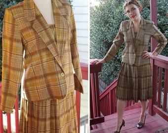 "OLIVE 1960's Vintage Light Olive Green Plaid Rayon Suit with Jacket & Pleated Skirt // size Medium // Waist W 30"" // Handmade"