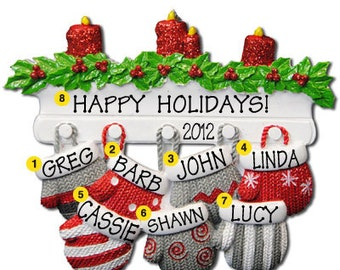 Personalized Christmas Family Mitten Ornaments family of seven Grandparents gang, grandkids,friends co-workers