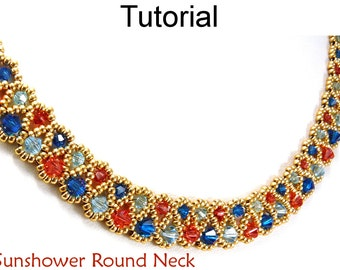 Beading Pattern - Jewelry Making Tutorial - Beadweaving Instructions - Crystal Necklace - Simple Bead Patterns - Sunshower Round Neck #11708