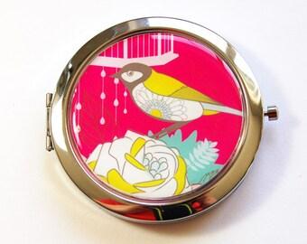 Flower compact mirror, Bird mirror, mirror, pocket mirror, compact mirror, floral mirror, Pink (3019)