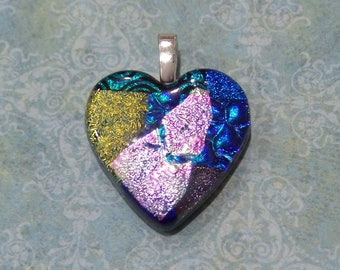 Heart Necklace, Fused Glass Pendant, Colorful Dichroic Heart, Handmade Jewelry, Dichro Glass, Anniversary Gift - Romance - 4631 -4
