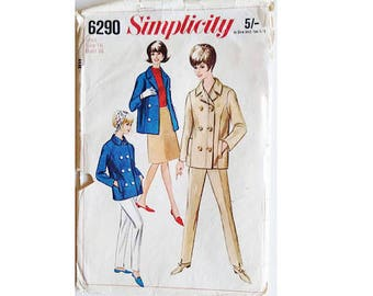 Vintage 60's Simplicity #6290 Wool Peacoat Double Breasted and Trouser Pants Sewing Pattern Size Small Bust 32""