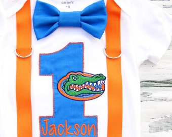 Baby Boy First birthday University of Florida Gators Baby boy one year University of Florida Boy 1st birthday Boy ONE year outfit Orange