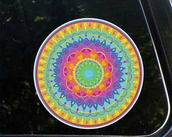 PS-205 - Rainbow Heart Mandala - Peel and Stick Decal Sticker - © 2016 YYDC. (4 inch diameter)