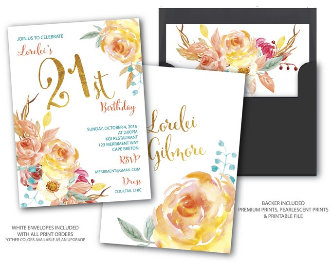 Fall 21st Birthday Invitation // Autumn Birthday Invitation // Boho Chick // Floral // Blue // Gold // Watercolor // CAPE BRETON COLLECTION