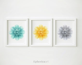 Flowers PRINTABLE art Set of 3 prints, Floral art trio Teal yellow and grey art, Nursery wall art Hand drawn art prints Floral Nursery decor