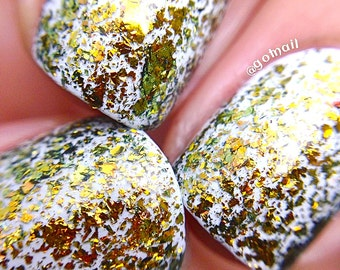FLAKIE-Gold Rush Topcoat (larger flakes)Multi-Color Shifting Polish: Custom-Blended Glitter Nail Polish/Indie Lacquer /Polish Me Silly