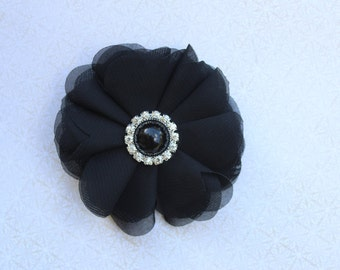 Black hair bow clip black flower girl hair bow black hair black bridesmaid hair clip black bows black birthday bows black hair accessory