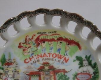 Los Angeles Chinatown Souvenir Plate - Vintage, Hollywood, Collectible, Wall Hanging, California Souvenir, Entryway Dish, Dragon (WTH-215)