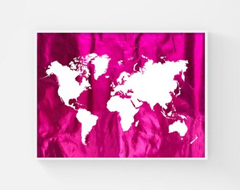 World Map Poster, Printable World Map, Metallic Pink, Map of the World Map Art, Teen Room Decor, Fuchsia, Fashion Poster, Apartment Decor