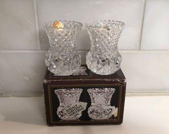 Two Sweet Gutesiegel Fur Echtes Bleikristall Vases, 24% pbO Lead Crystal, West Germany