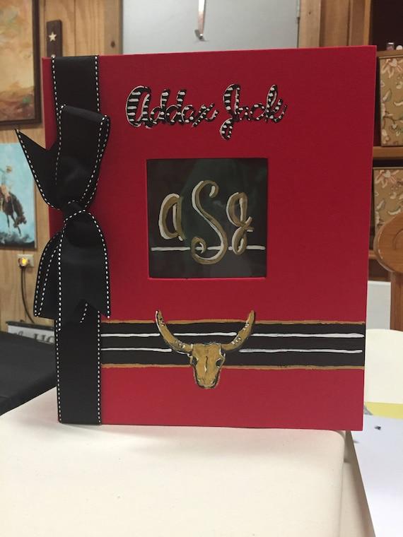 Little Deer Baby Memory Book   Black and White Stripe   Golden Deer Head