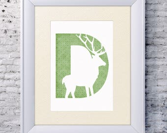 Deer wall letters woodland nursery decor print personalized baby shower gift