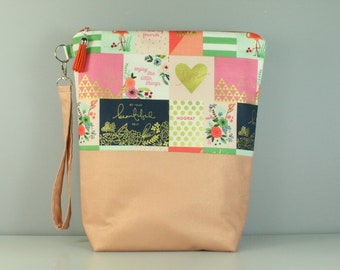 Notelet Zip Bag/ Pouch With Wrist Strap