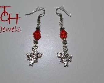 'Rabbit alice in Wonderland' Pearl Earrings silver Red