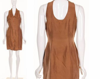 Vintage 90's Silk TUXEDO Back Cutout Minidress Brown Silk Peter Pan Collar Short Dress Medium