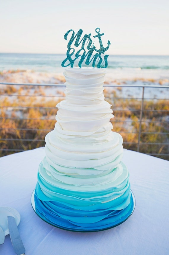 Wedding Cake Topper Anchor Mr & Mrs Wedding Cake Topper in