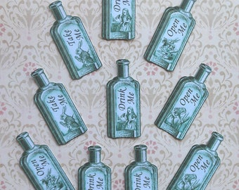 Set of 10 or 20 BOTTLE STICKERS- Alice in Wonderland PAPER bottle stickers- Alice Drink Me bottles Alice in Wonderland package decorations