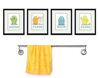 Kids Bathroom Art - Children's Wall Decor Monsters for the Bathroom - Kids Bathroom Decor art - Four 8 x 10  Bathroom Monster Child Prints