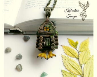 Hut on chicken legs pendant - Baba Yaga house - Избушка на курьих ножках - Magic forest house - Russian tales - Polymer clay house