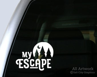 Escape to the Great Outdoors - My Escape Vinyl Sticker - Love of the Outdoors Decal - Car Window Decal, Laptop Sticker, Bumper Sticker
