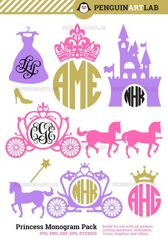 Princess Carriage Monogram Frames Svg Cutting Files Kingdom