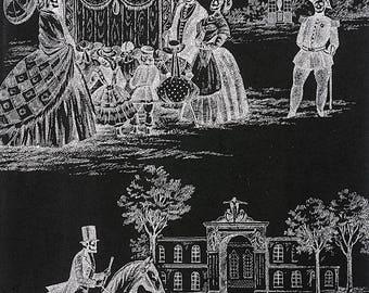 Gothic Fabric - Alexander Henry Fabric, Luxembourg Garden, Black & White Collection - 8559 B Black - Half Yard Price
