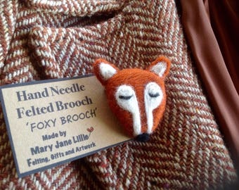 Needle felted fox  brooch or pin fibre art made to order using merino wool tops