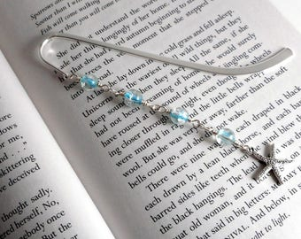 """Turquoise and Silver Starfish Metal Bookmark, 5"""" / Starfish Bookmark /  Turquoise Bookmark  / Ocean Bookmark /  Beach Bookmark"""