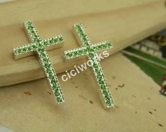 5 pcs Green Rhinestone Silver Buttom Curve Sideway Cross Bracelet Connector Charms Beads