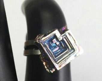 Bismuth Crystal Adjustable Ring SZ 6-8 ~ Free Shipping B3