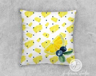 """18"""" Decorative Pillow - Blueberry Lemonade Dots"""