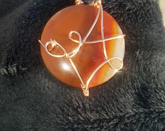 Carnelian Copper Wrapped pendant