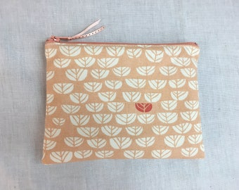 Peach Sprouts Organic Cotton Medium Zipper Bag, Cosmetic Bag, Gadget Bag, Travel Bag