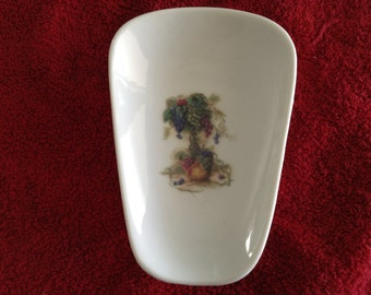 """Ceramic Spoon Rest with Tree of Grapes  5"""" Long and 3 1/2 Inches at Top of Spoon Rests"""
